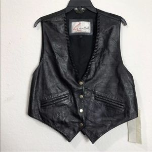 Excelled Vintage Leather Motorcycle Black Vest